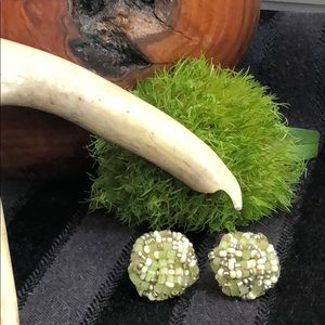 Vintage Beaded Green and Cream Cluster Earrings